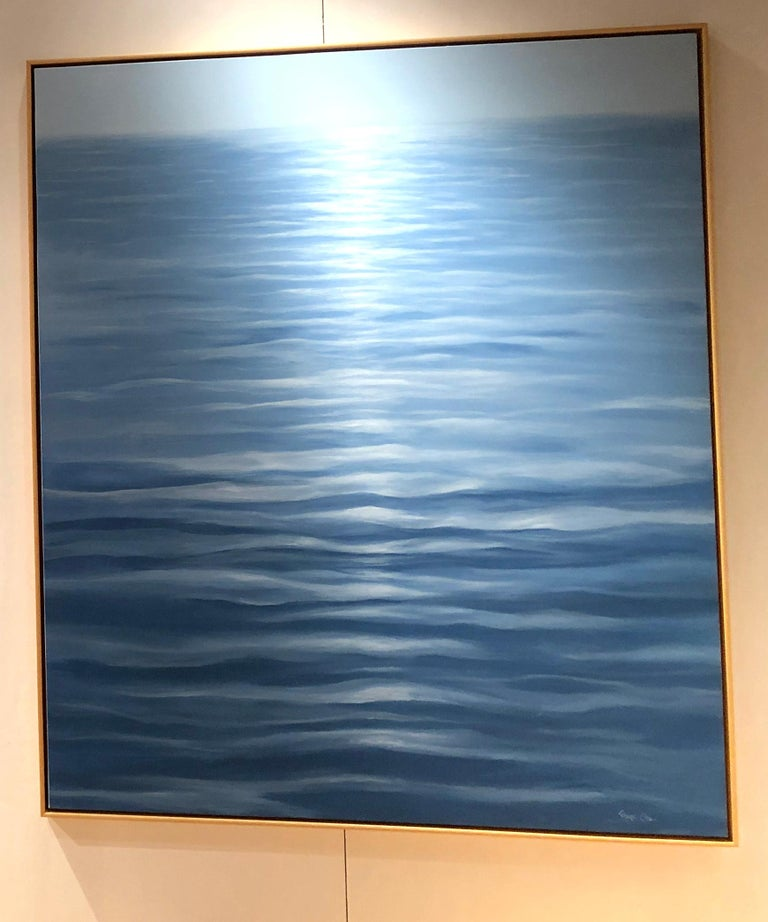 Great Blue - contemporary soothing  water-scape painting on canvas framed  - Abstract Painting by Ginger Fox