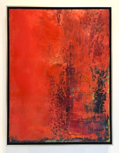 Veil of Red Lace - contemporary bright bold abstract painting on canvas framed