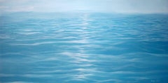 Think Water - contemporary soothing  water-scape painting on canvas framed