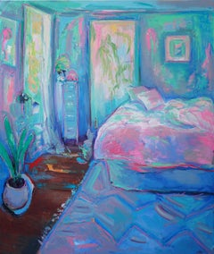 """Beginning"", Large oil painting w pastel palette, blue & pink, Interior bedroom"