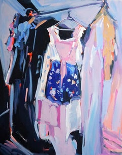 Going Out, Oil on canvas, bright and textured bedroom series with clothing