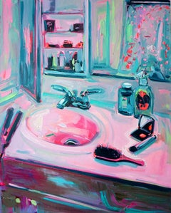 Getting Ready, Oil on canvas, bright and textured interior series w accessories