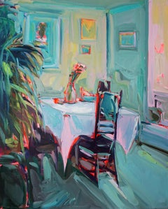 Morning Coffee, Oil on canvas, bright and textured interior series w greens