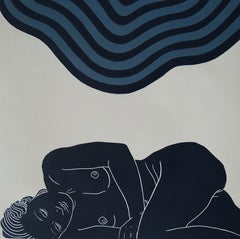 Breath, Sensual female figurative artwork, Linocut original print, Unframed
