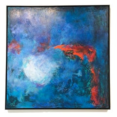 Blue Seventy-Two - contemporary bright bold abstract painting on canvas framed