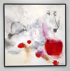 Thinking - contemporary bright cool abstract painting on canvas, framed
