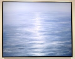 Summer 2017 - contemporary soothing  blue water-scape painting on canvas framed