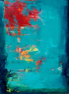 Sometime in Life - contemporary bright bold abstract painting on canvas framed
