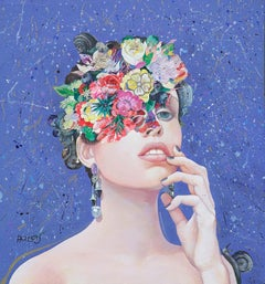 Floral Minds #36 by Minas Halaj, Oil painting and mixed media, woman and flowers
