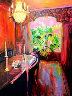 Conversations, Impressionist style orange interior painting, Oil on canvas