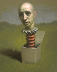 Man Thinking Outside the Box, Avery Palmer, Oil on board, pop surreal figure