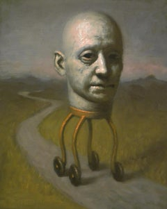 Thinking Wanderer, Avery Palmer, Oil painting, pop surreal figure traveling