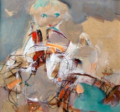 Boy Playing - whimsical, colorful original oil painting- expressive & figurative