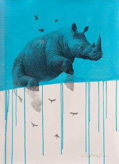 Jouney No. 4 Blue Rhino, watercolor & charcoal of flying rhinoceros and birds