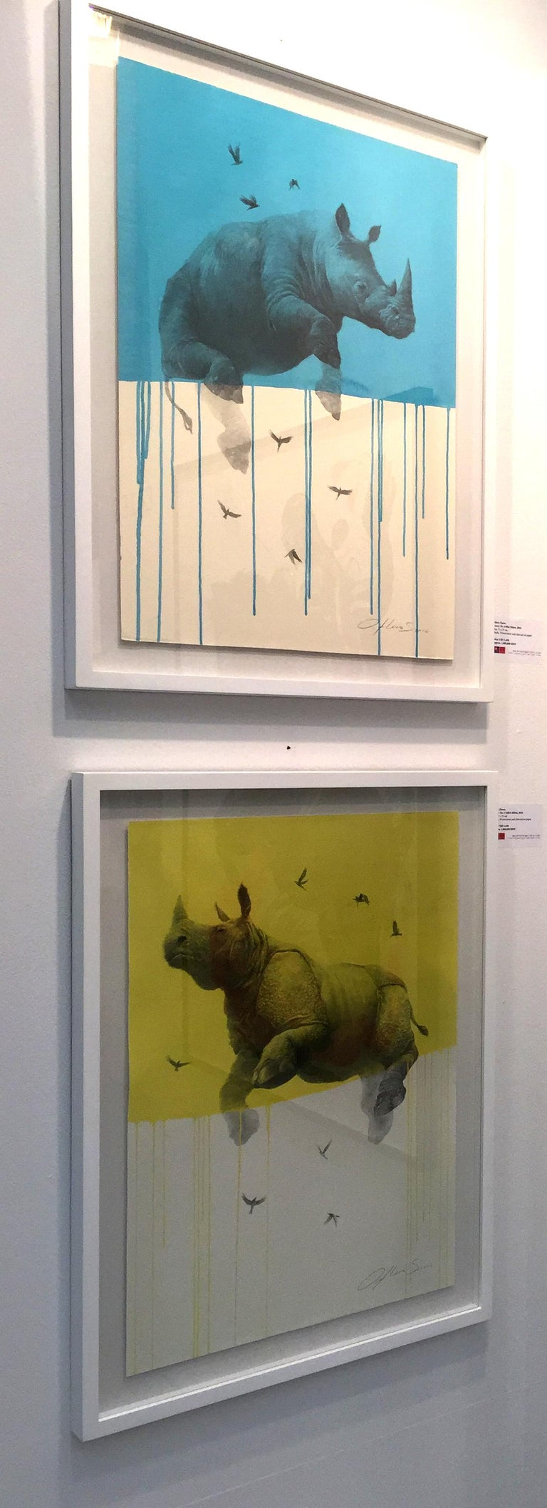 Jouney No. 5 Yellow Rhino, watercolor & charcoal of flying rhinoceros and birds For Sale 1