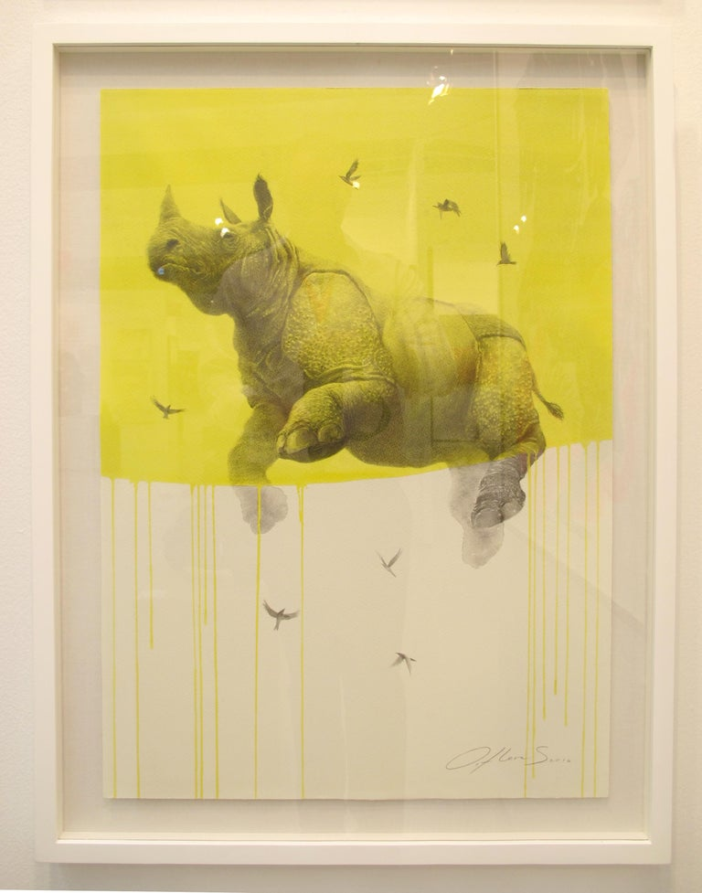 Jouney No. 5 Yellow Rhino, watercolor & charcoal of flying rhinoceros and birds For Sale 2