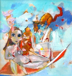 Girl on Boat - whimsical, colorful original painting- expressive & figurative