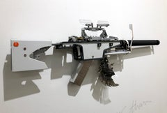 Olimpia XY, Vintage Typewriter Machine Gun, conceptual and unique wall sculpture