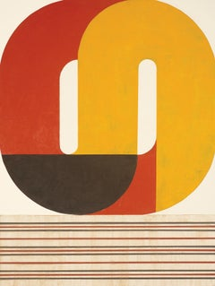 Black Bowl, striking modern geometric abstract, red, orange and black palette