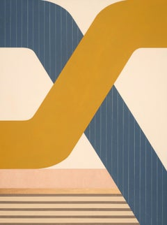 Pinstripe Cross, striking modern geometric abstract painting, bright palette