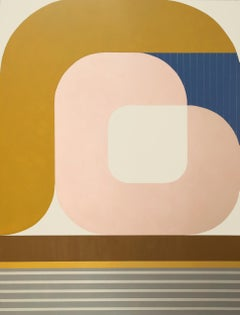 Involute, striking modern geometric abstract painting with soft palette