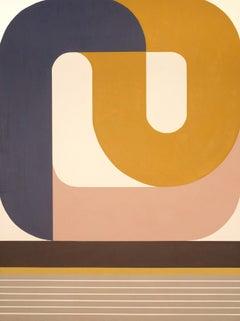 Gentle Night Rising, striking geometric abstract painting, modern palette