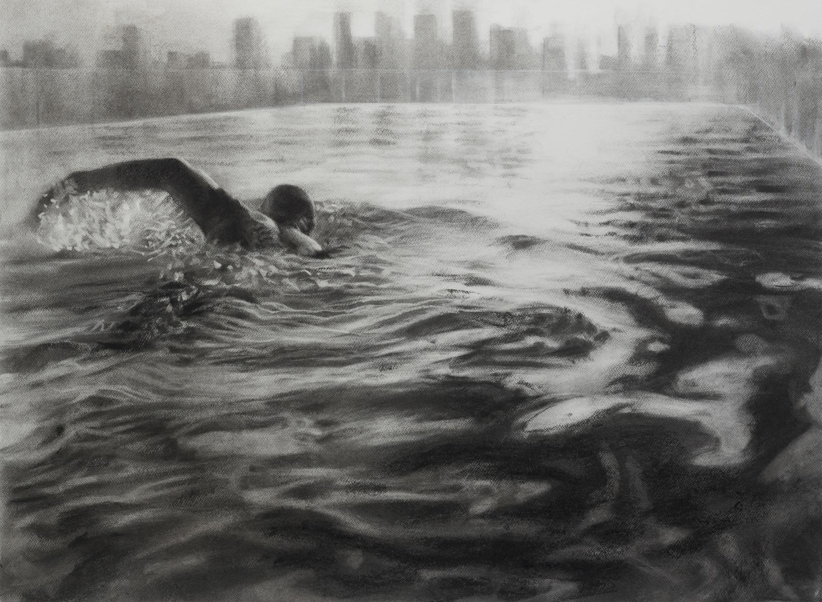Rooftop Pool, dynamic realistic charcoal on paper of swimmer, water and city