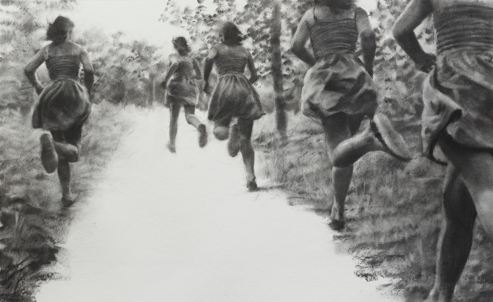 The Path, realistic figurative charcoal on paper of girls running in nature
