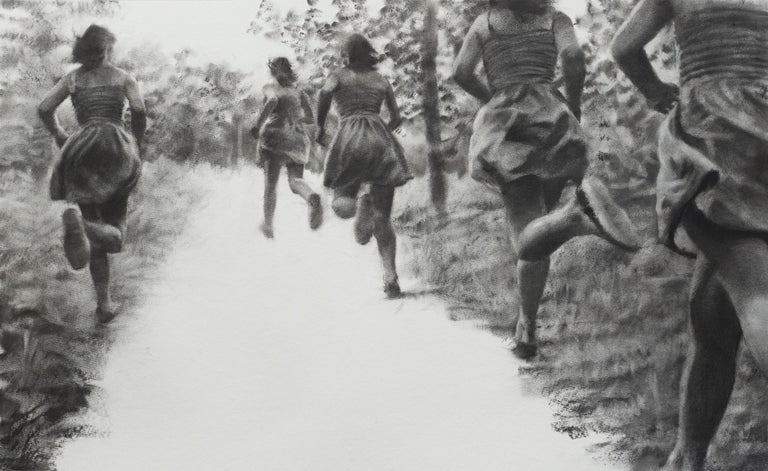 Patsy McArthur Figurative Art - The Path, realistic figurative charcoal on paper of girls running in nature