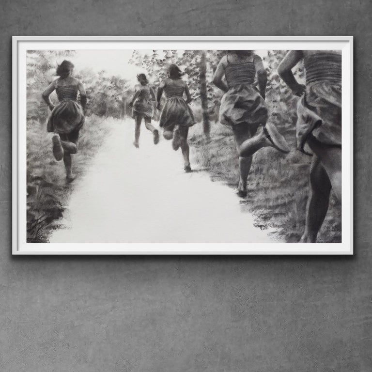 The Path, realistic figurative charcoal on paper of girls running in nature - Art by Patsy McArthur