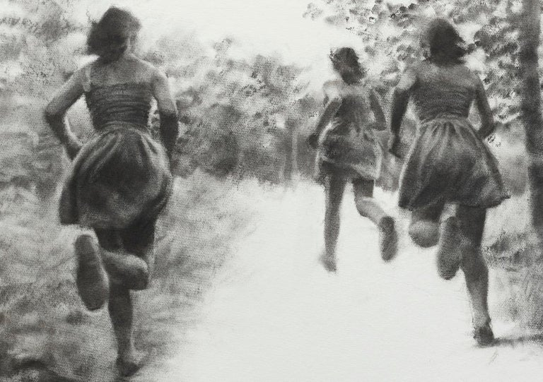 The Path, realistic figurative charcoal on paper of girls running in nature - Realist Art by Patsy McArthur