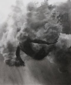 Plunge Series, Study V, realistic figurative charcoal on paper, underwater diver