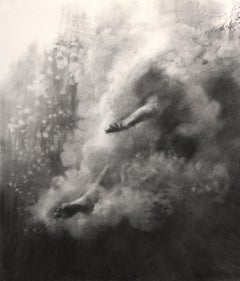 Plunge Series, Study VI realistic figurative charcoal on paper, underwater diver