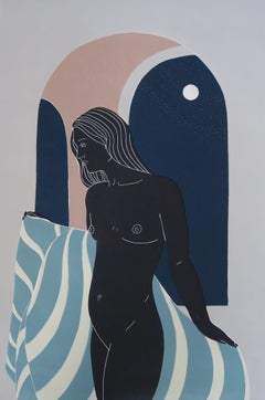 She Did Not Hurry, female figurative Linocut original print, Unframed