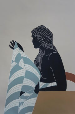 Wanting Solitude and Closeness, female nude, Linocut original print, Unframed