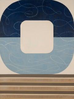 Moonlight Musing, striking geometric abstract painting, modern blue palette