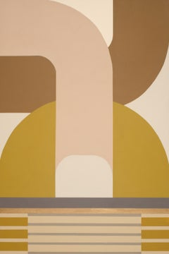 Track Shift, striking modern geometric abstract, painting with soft palette