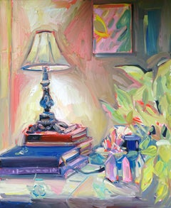 Alter, Oil on canvas, bright and textured interior series w books and crystals