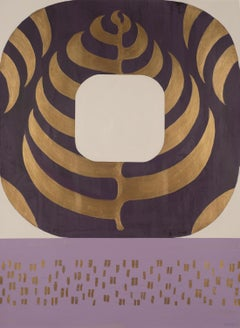 Alternating Aubergine, purple and gold geometric abstract painting on paper