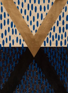 Rebound, striking blue and gold geometric abstract painting on paper, unframed