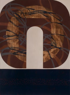 Crescent Web, Earth tones, geometric abstract painting on paper, unframed