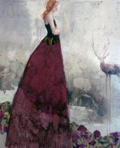 Laisse mon Souvenir te Suivre, Textured mixed media painting, poetic woman