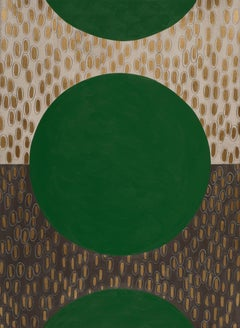 Emerald Slate, Green and gold, circular geometric abstract painting on paper