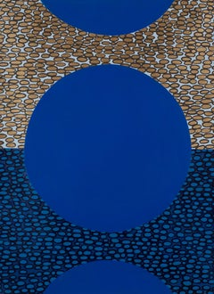 Pebble Blue, circular geometric abstract painting on paper, gold & black accents