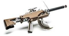 Olympia with Chocolate, Vintage Typewriter Machine Gun, wall sculpture