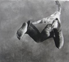 Jump Man, realistic figurative charcoal on paper, large size, contemporary frame