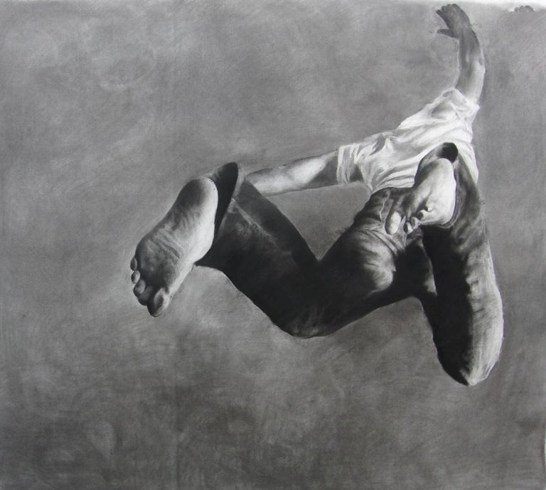 Patsy McArthur Figurative Art - Jump Man, realistic figurative charcoal on paper, large size, contemporary frame