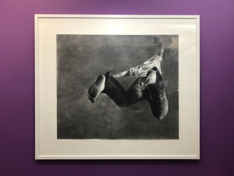 Jump Man, realistic figurative charcoal on paper, large size, contemporary frame - Art by Patsy McArthur