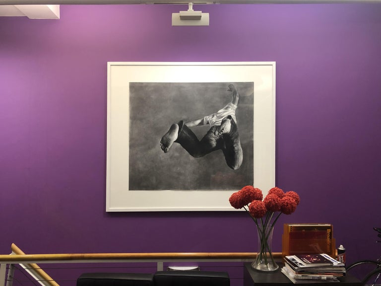 Jump Man, realistic figurative charcoal on paper, large size, contemporary frame - Realist Art by Patsy McArthur