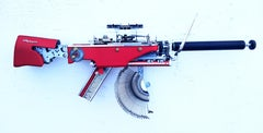 Olympia Valentine -red, Vintage Typewriter Machine Gun, wall sculpture
